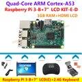 """Raspberry Pi 3 Modelo B + 7 """"LCD HDMI 1024*600 2.4G Teclado + Caso Claro + ventilador + Power + disipador de Calor + Cable HDMI = Raspberry Pi 3-B KIT-E-D"""