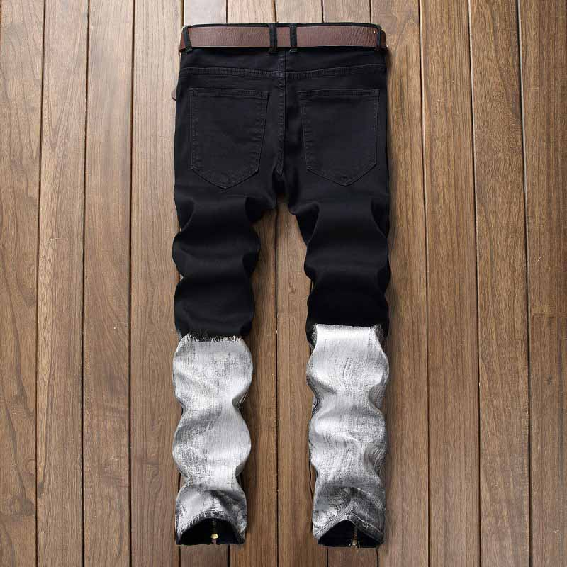 Mcikkny New Fashion Men`s Hip Hop Denim Jeans Ripped Pleated Pants For Male Ankle Zipper (3)