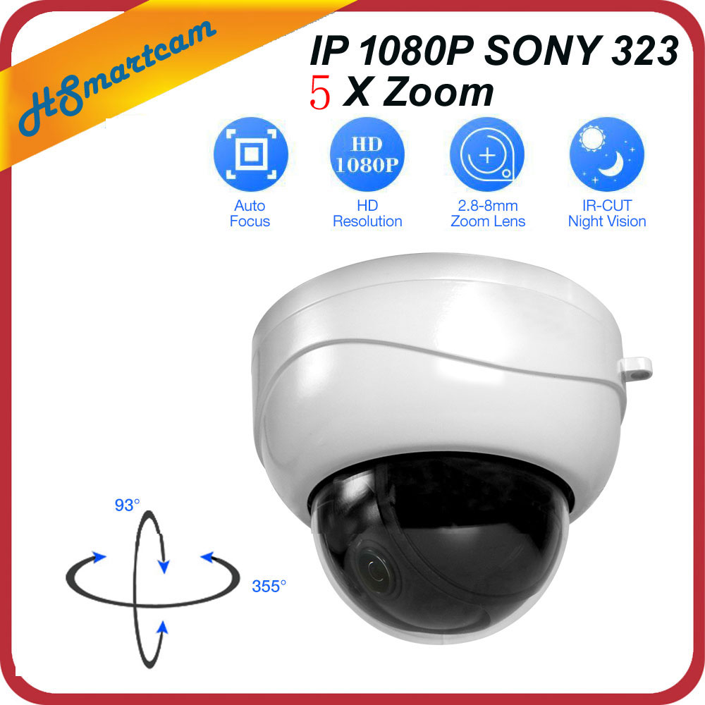 Mini PTZ IP Camera 5X Zoom Full HD SONY IMX323 2.0MP IR Indoor Dome Surveillance P2P 1080P Onvif Camera For HD NVR CCTV System dahua full hd 30x ptz dome camera 1080p
