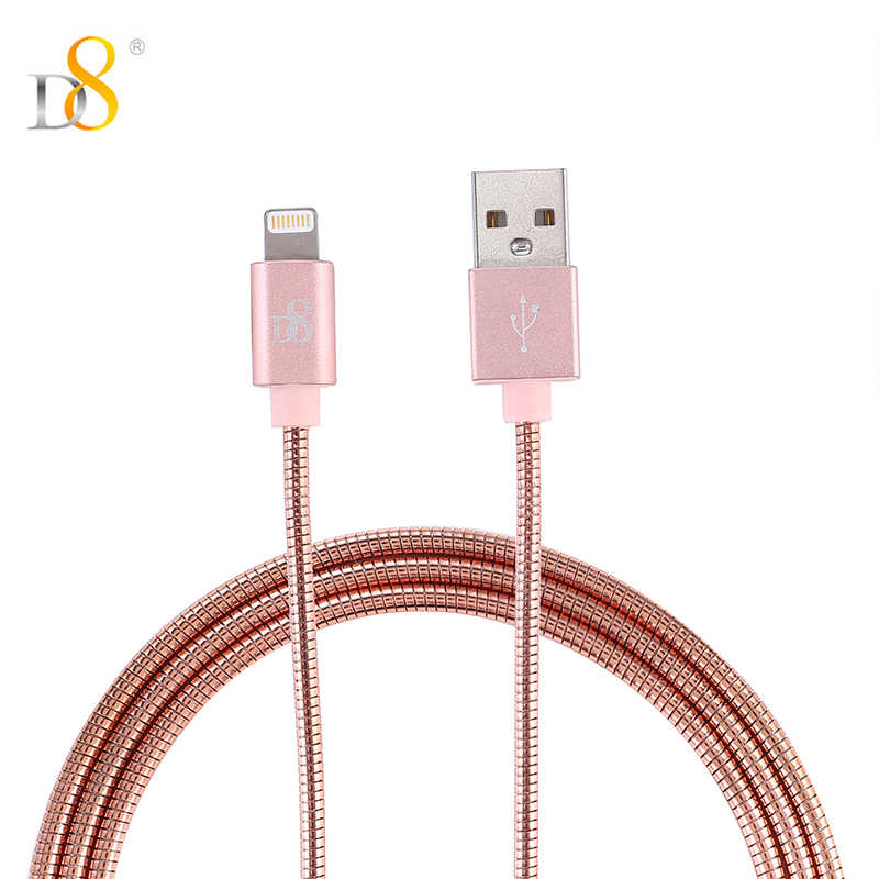 D8 Mfi Certified 1m Lightning Cable For iPhone XS MAX XR X 10 8 7 Data Cable USB Protector metal Syncing Universal Fast Charging