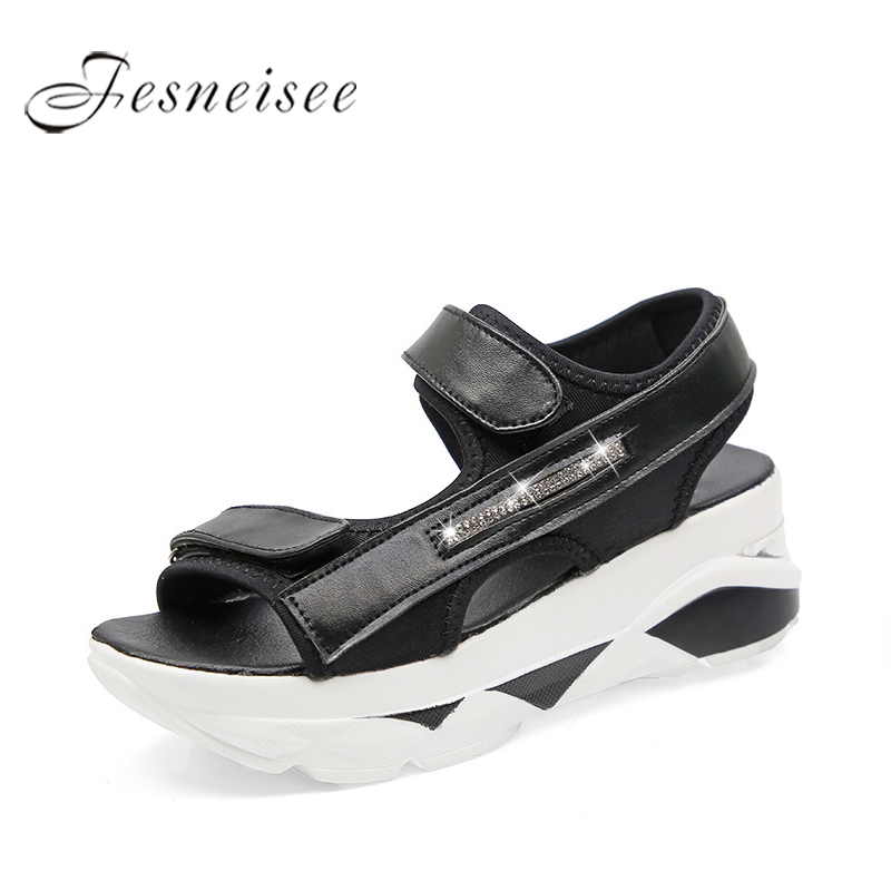 FESNEISEE Women Wedges Gladiator Sandals 2018 Summer Style Creepers Platform Shoes Woman Bling Bling Women Shoes Black White women creepers shoes 2015 summer breathable white gauze hollow platform shoes women fashion sandals x525 50