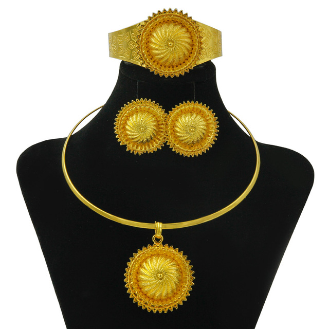 New Gifts Women Strong Gold Jewelry Set Necklace Bracelet Ring Earrings Dubai Gold Mountain Big Cheap Jewelry Accessories