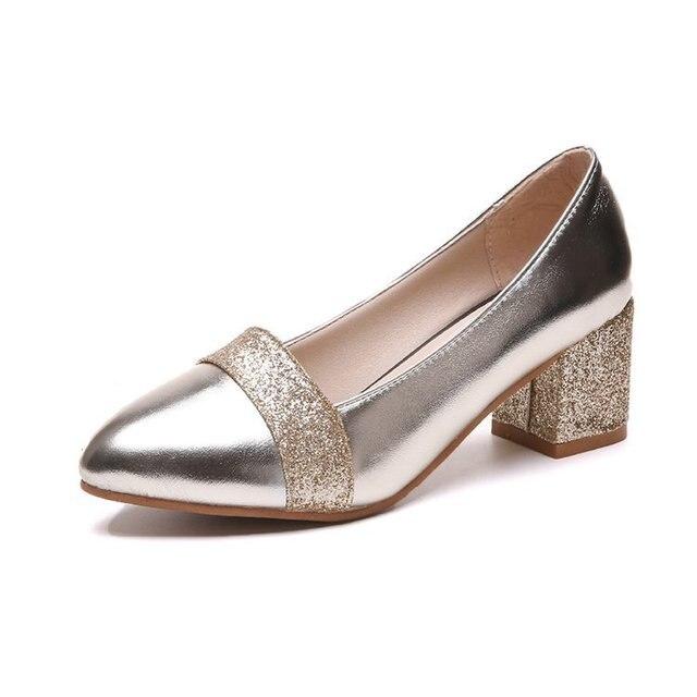 Sapatos femininos de salto alto quadrado, calçado