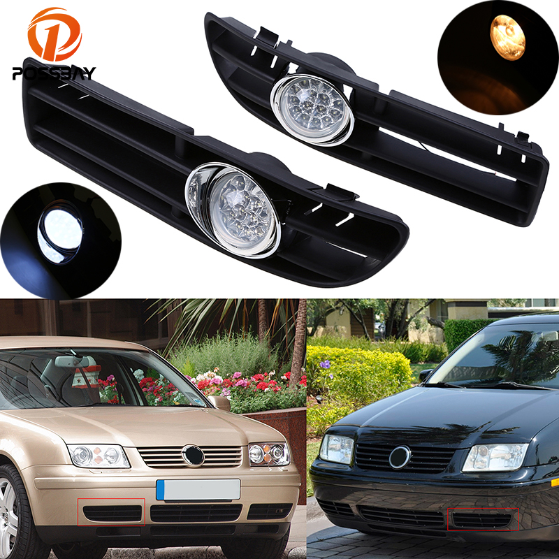 цена на POSSBAY Car Fog Lights for VW Bora Jetta MK4 1999 2000 2001 2002 2003 2004 2005 2006 2007 Halogen/LED Foglamp Front Grille
