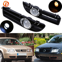 POSSBAY Car Fog Lights for VW Bora Jetta MK4 1999 2000 2001 2002 2003 2004 2005 2006 2007 Halogen/LED Foglamp Front Grille