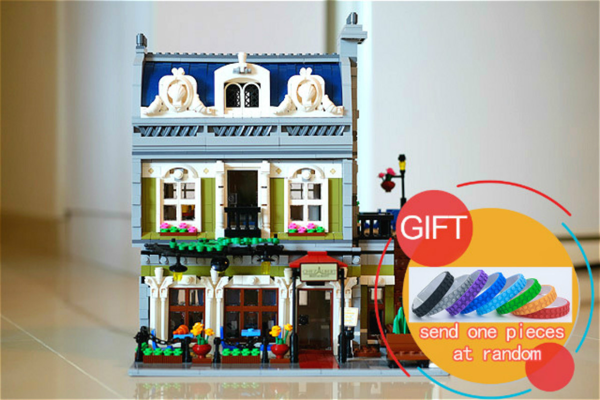 15010 2418PCS City Street Parisian Restaurant Model Building Kits Blocks Funny Children Toys Compatible With 10243 Gift lepin lepin 02012 city deepwater exploration vessel 60095 building blocks policeman toys children compatible with lego gift kid sets