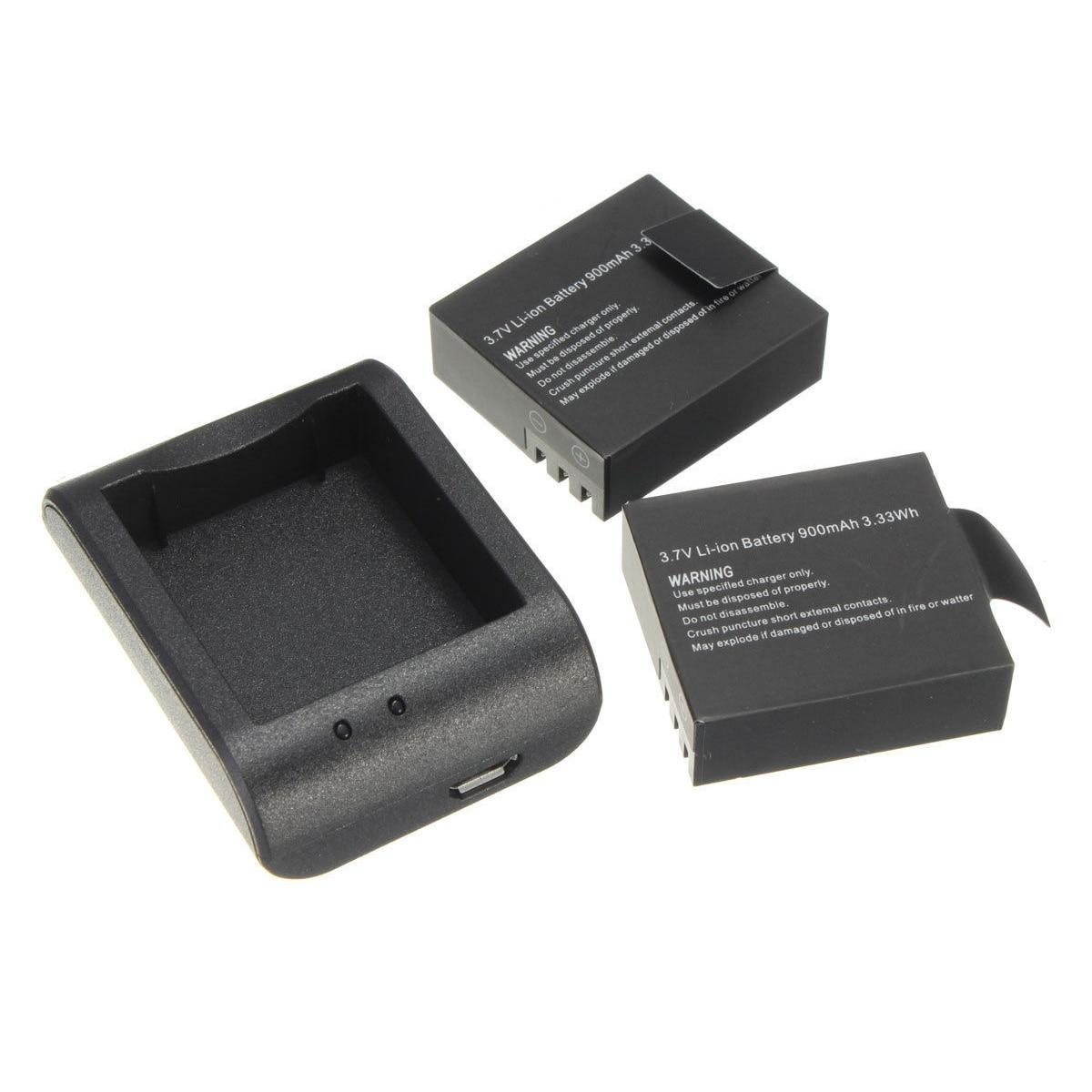 Meilleures Offres 2x900 mAh batterie + Charge Rapide Capacité Chargeur USB pour SJ4000 SJ5000 SJ6000 Caméscope D'action caméra DVR