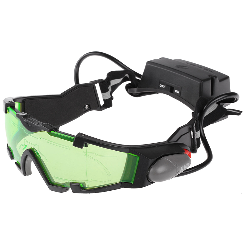 1Pcs Green Adjustable Windproof Night Vision Goggles Glasses Children Protection Glasses With LED For Outdoor Night Activity