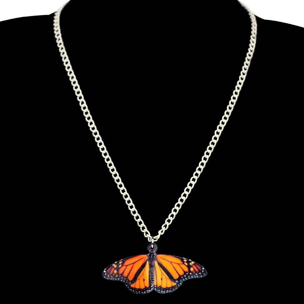 Bonsny инструкция акриловая тропическая монарх Бабочка ожерелье с насекомыми длинный свитер цепь Весна Лето ювелирные изделия для женщин подарок для девочек