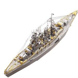 Piececool Japan Nagato Class Battleship Warship DIY 3d Metal Nano Puzzle Assemble Model Kits P091-SG Laser Cut Jigsaw Toys