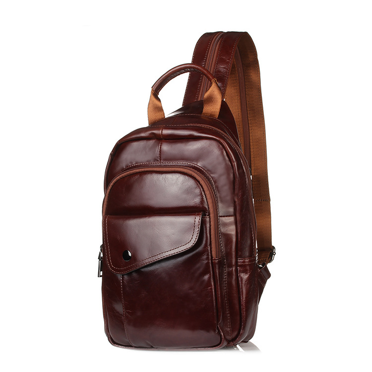 New Men's Genuine Leather Cowhide Chest Bag Male Casual Messenger Bags Small For Men Shoulder Bag Brown Leather Fashion contact s genuine leather genuine men messenger bags messenger bags small dark travel brown shoulder strap shoulder bag for men