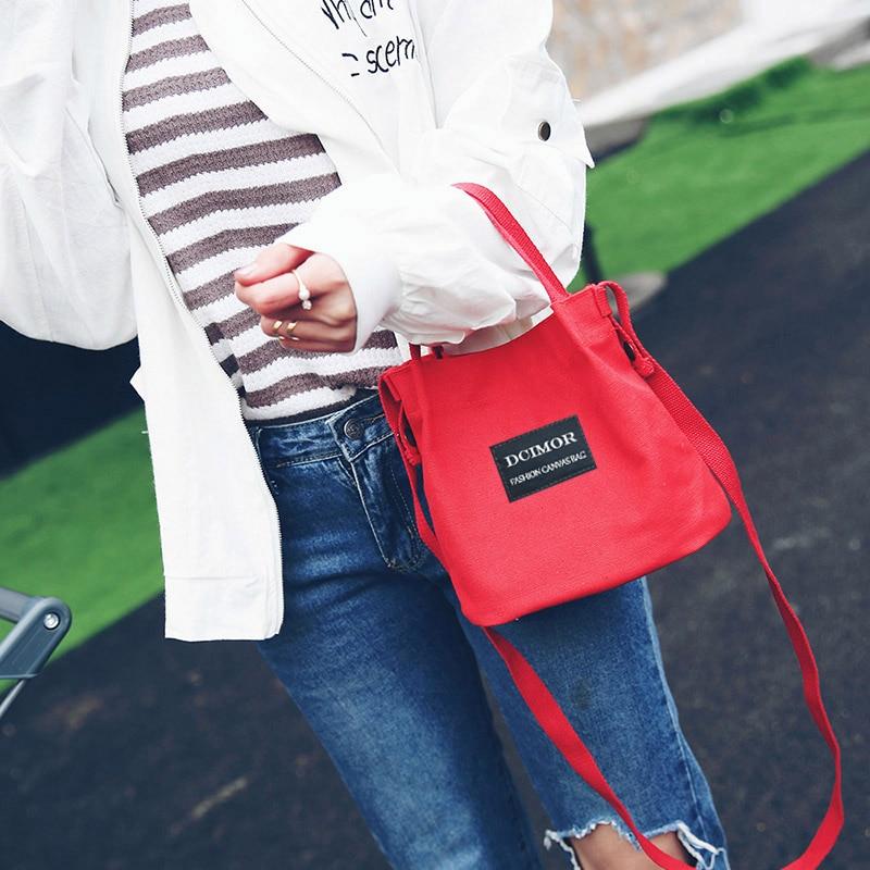 137edceece34 DCIMOR Lady Canvas Handbag Mini single shoulder bag Crossbody Messenger bag  women swagger bag Female shopping bags Bucket pack