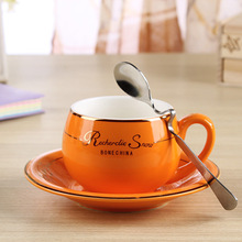 Fashion cute boutique coffee cup Western - style bone china ceramic with spoon 1 sets 160ML