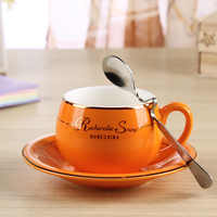 Taza de café de estilo occidental de cerámica china con cuchara 1 Juego de 160 ML