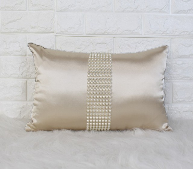 High Quality Drop Ship Luxury Imitated Silk Pillow Cover Pearl Home Decor Cushion Cover  Decorative Pillowcase Pillowsham Lumber