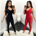 Fashion bodysuit women 2017 new arrivals red and black sleeveless deep v-neck skinny corn hollow out sexy club bodycon jumpsuit