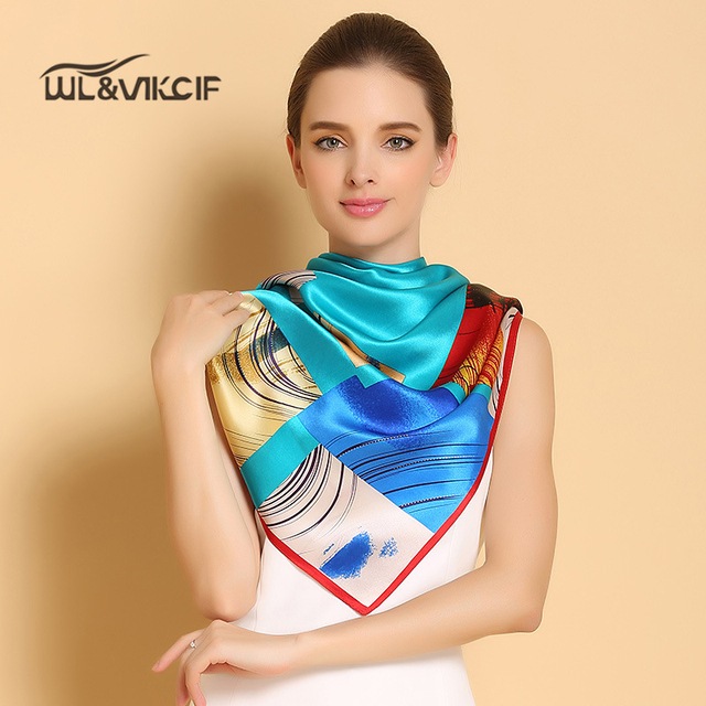 100% Lenço De Seda Genuína de Alta-grade Mulheres Luxo Marca Praça Xaile Hijab Lenços de Sarja Impressão Sobre O Tamanho 110*110 cm Ar02