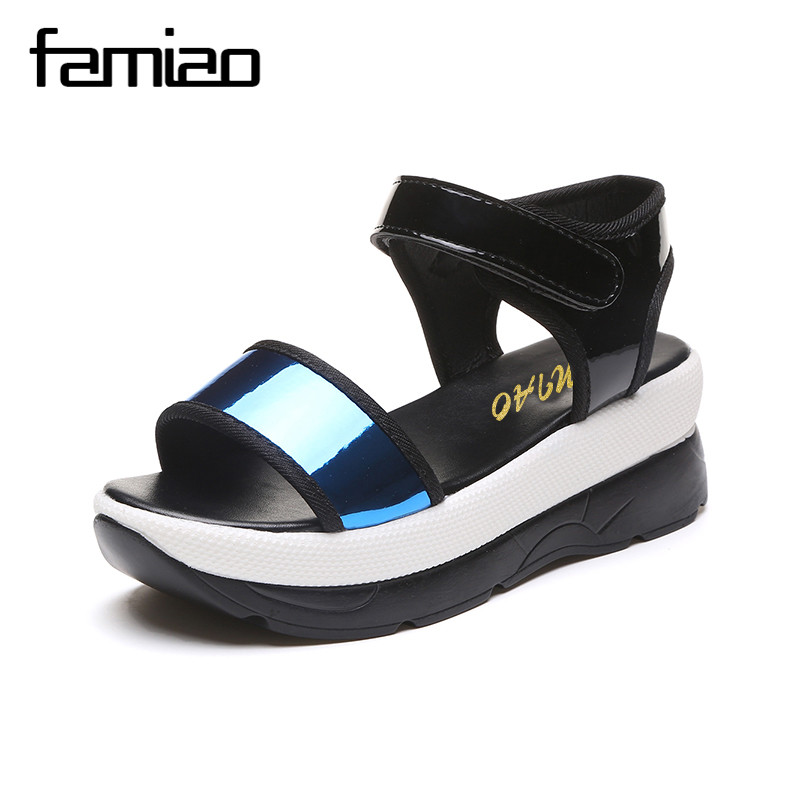 FAMIAO 2017 Summer shoes woman Platform Sandals Women Soft Leather Casual Open Toe Gladiator wedges Women Shoes zapatos mujer plus size 34 44 summer shoes woman platform sandals women rhinestone casual open toe gladiator wedges women zapatos mujer shoes
