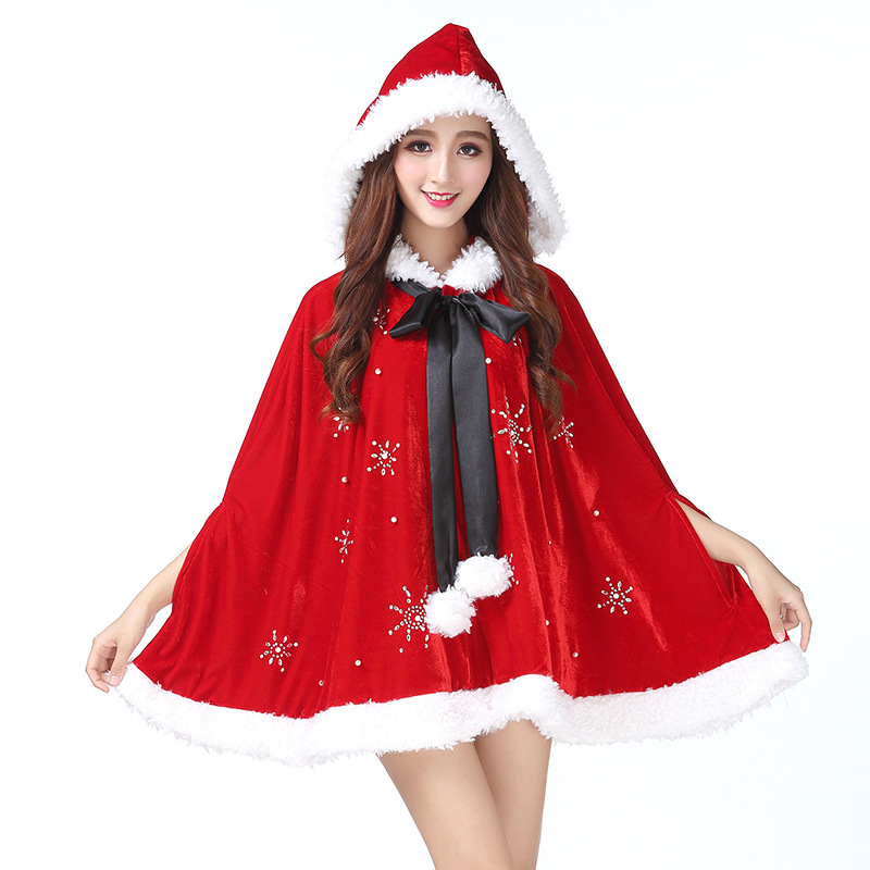 Learned Christmas Cosplay Costume Women Red Velvet Cloak Jacket Winter Warm Coat Xmas Party Show Superior Performance