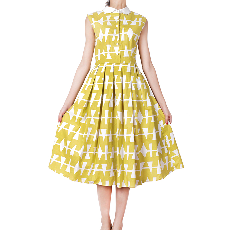 Audrey Hepburn 50s 60s Geometric Print Vintage Dress Plus Size Pin