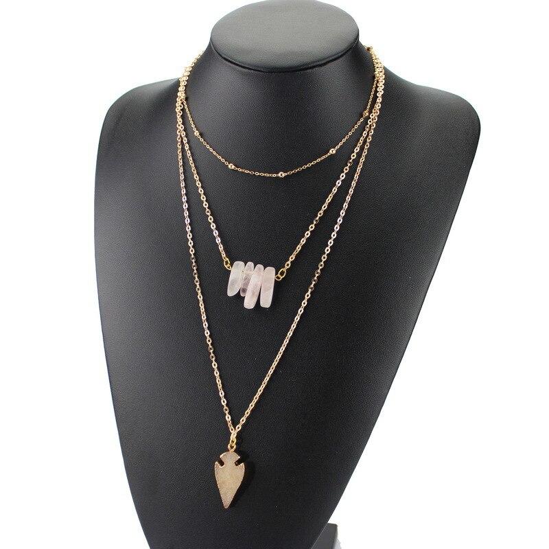 49bd97b2c6a2a Nova moda multicamadas cadeia choker de cristal de quartzo pedra natural  pingente collares colar para as mulheres jóias 8928