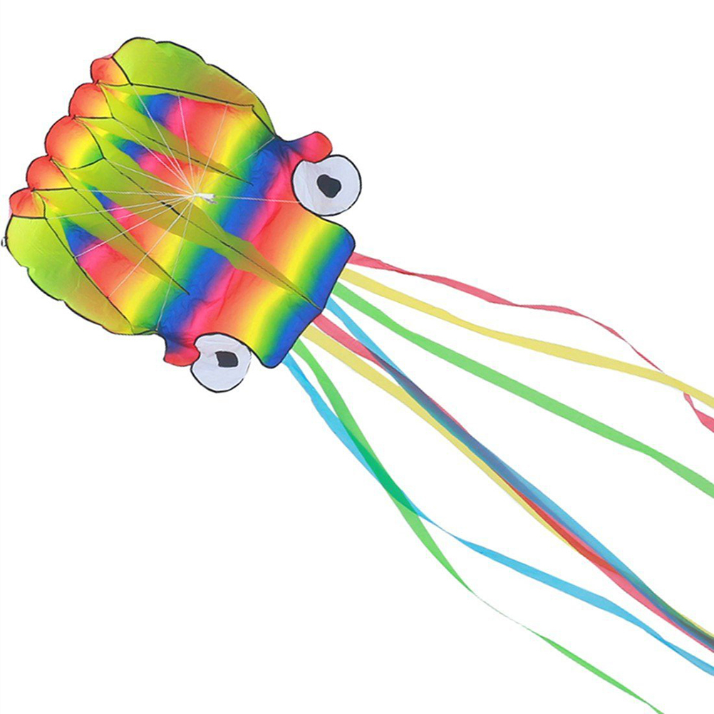 5m Octopus Portable Kite Toy For Kids And Children Outdoor Games Activities With 100m String Boards (Rainbow Color )