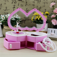 Double-Heart Clockwork Music Box With Mini Jewel Case Drawer Creative Gifts For Kids Baby Dancing Girl Musical Boxes Home Decor