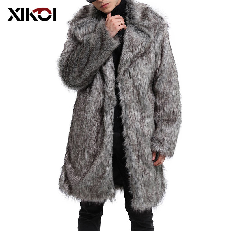 XIKOI Men Fur Coat Oversized M-4XL Winter Outwear Fluffy OverCoat Men Parka Jackets Plus Long Overcoats Warm Thick Furry Coats