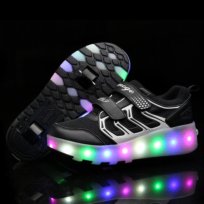 2018 LED Flashing Skating Shoes Invisible Automatic Pulley Single Double Wheels Boy Girl Roller Skate Luminous Shoes