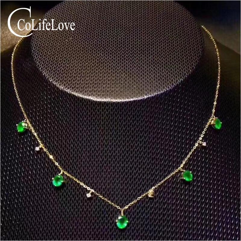 Collier émeraude élégant pour soirée 5 pièces collier en argent émeraude naturelle de zambie bijoux en argent émeraude solide 925