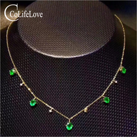 Elegant emerald necklace for evening party 5 pcs natural Zambia emerald silver necklace solid 925 silver emerald jewelry