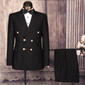Custom Made ternos Do Noivo Smoking homens ternos Azul Royal Double Breasted Men Casamento Prom Jantar Ternos (Jacket + Pants)