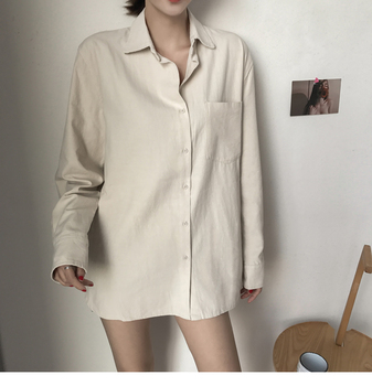 ZHISILAO Chic Solid Shirts Long Sleeve Cotton Linen Blouse Plus Size Shirts Oversize White Blouse Maxi Boyfriends Chemisier 3