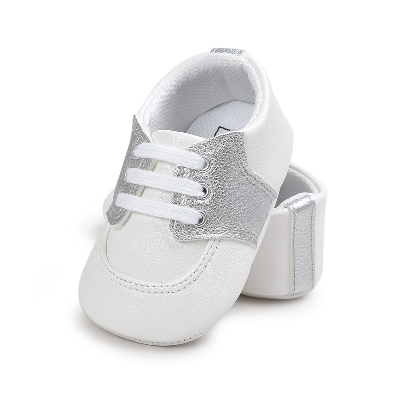 New Design PU Leather Colorfrl Casual Baby Shoes Lace-up Soft Sole Newborn Sneakers Wholesale