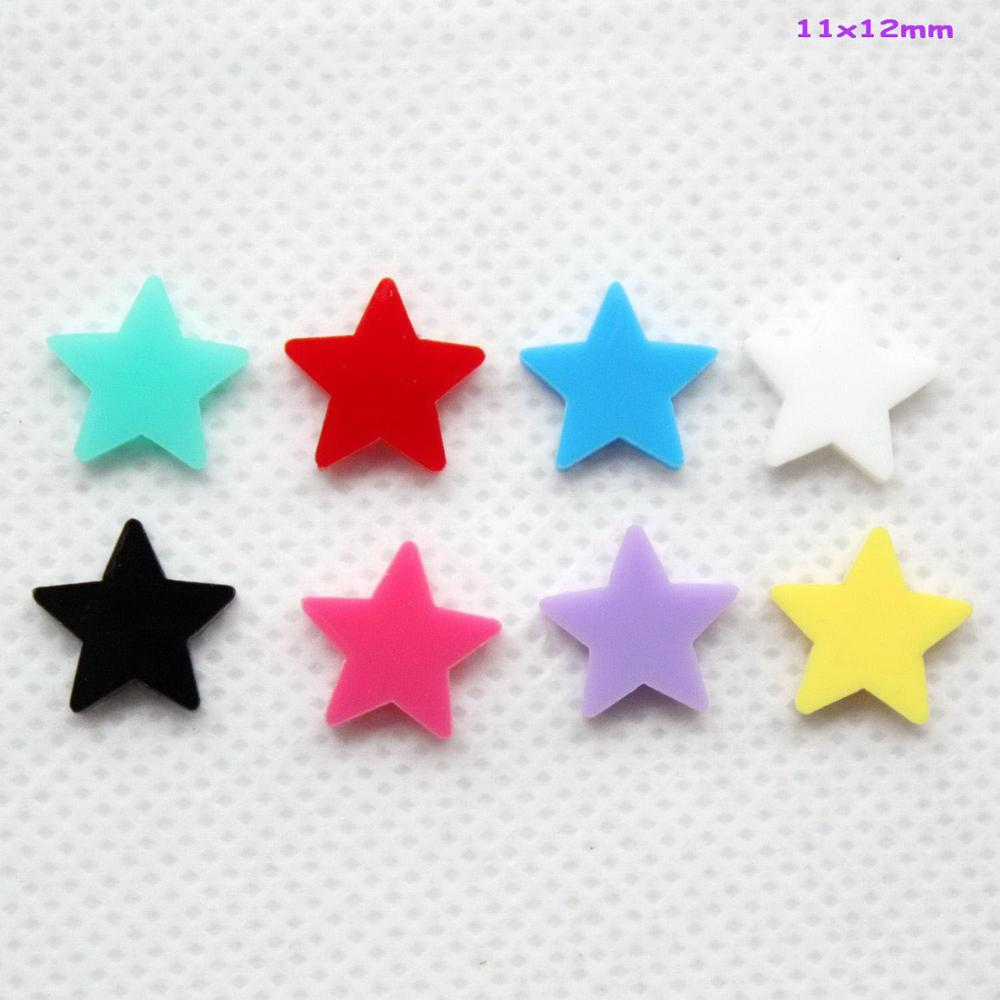 (48pcs/lot) 12mm Acrylic Star Earrings (NO Stud) Jewelry Accessories Assorted Colors Laser Cut 0.48