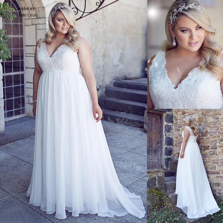 US $69.0 50% OFF|Chiffon Applique Lace Plus Size Beach Wedding Dress  Pregnant Woman Corset Back White Empire Bridal Gown Long 26w Robe De  Soiree-in ...