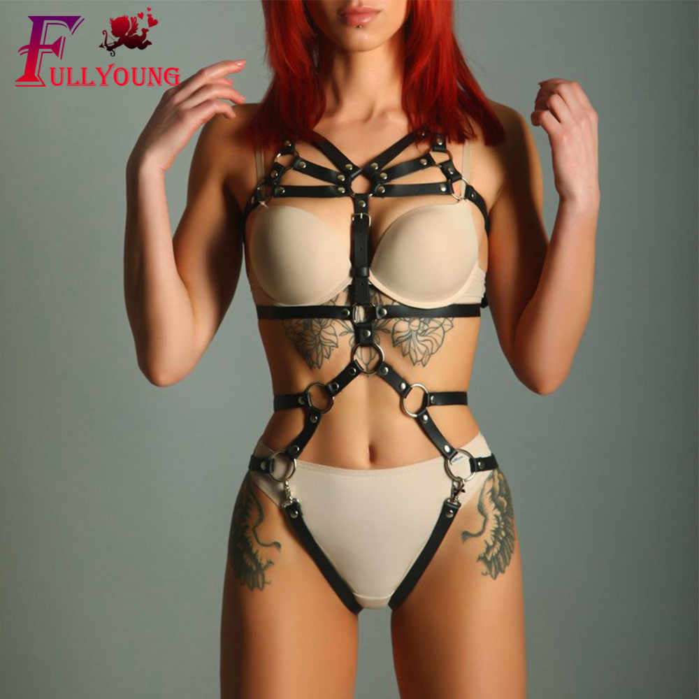 Fullyoung 2PCS Women's Crop Top Stockings Bra Bondage Harness Leg Bondage Prom Dress Erotic Accessories Adjustable Leather Belt