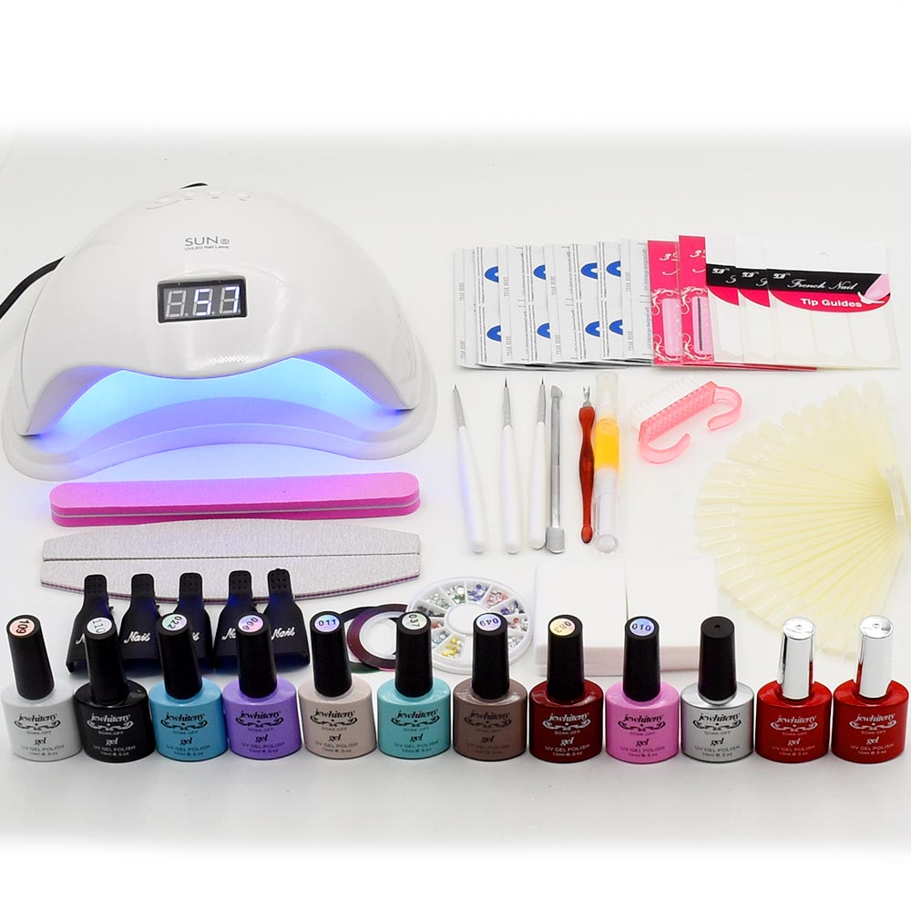 Nail Art Set Soak Off Uv Gel Polish 48W UV LED Lamp Dryer Kit Manicure set 6 10 Colors Nail Gel Varnish Kit nail tools em 128 free shipping uv gel nail polish set nail tools professional set uv gel color with uv led lamp set nail art tools