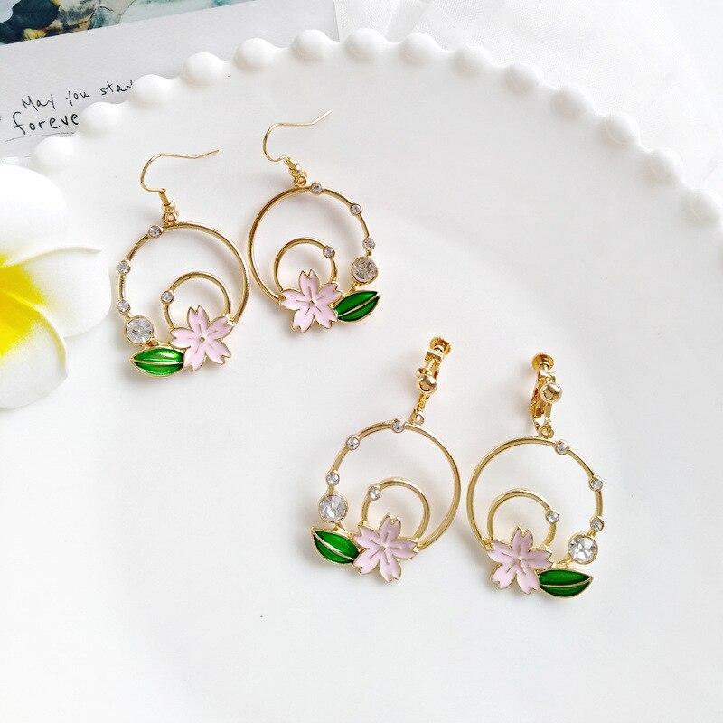 Japan Natural Forest Mori Girl Rhinestone Clip Earrings Pink Sakura Flower Leaf Round Clips on Earrings No Piercing Ear Hole Пирсинг ушей