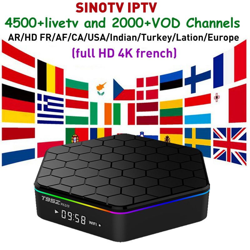 T95Z Plus Arabic Europro Canada iptv box android Set Top Box Plus SINOTV iptv subscription For
