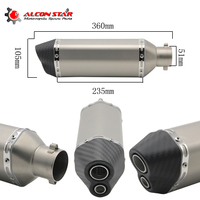 Universal Carbon Fiber Color 51mm Motorcycle Exhaust Muffler Pipe Escape Moto Exhaust Fit For Most Motorcycle