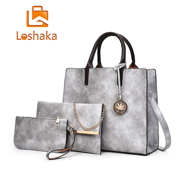 5647f7ff5b6 US $20.37 49% OFF|2018 New Women Bags Set 3 Pcs Leather Handbag Women Large  Tote Bags Ladies Shoulder Bag Handbag+Messenger Bag+Purse Sac a Main-in ...