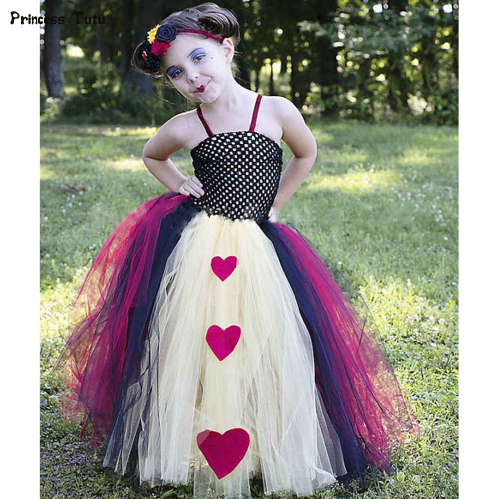 High Quality Cosplay Queen of Hearts Tutu Dress Girl Kids Tulle Princess Dress Baby Girl Birthday Party Halloween Dress Costume summer kids girl tutu dress wonder woman halloween costume birthday dresses for party cosplay superman costume baby party frocks