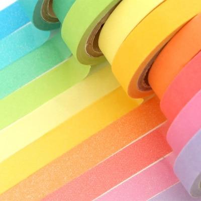 100pcs Wholes Decorative Free Shipping Washi Rainbow Sticky Paper Masking Adhesive Tape Scrapbooking DIY For School