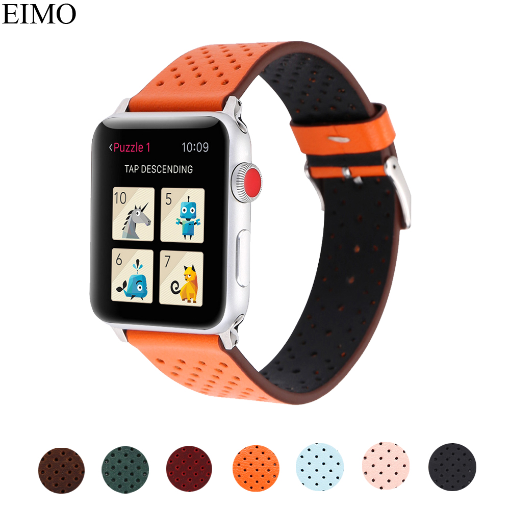 EIMO vintage Genuine leather For Apple watch band strap 42mm/38mm iwatch series 3/2/1 breathable bracelet wrist watchband Belt цена