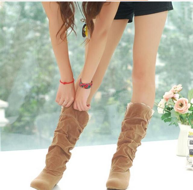 2016 nueva moda de Primavera y Otoño casuales zapatos de la princesa dulce mujeres boot elegante flock zapatos moda plana botas de Mitad de la pantorrilla P045