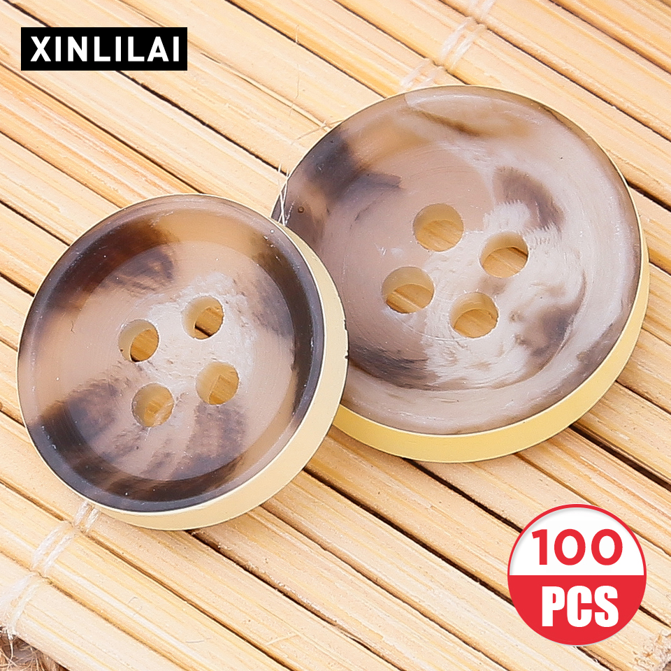 100pcs Leopard Resin Buttons Coat buttons Four Holes Concave Accessories For Clothing 11.5/12.5/15.0mm