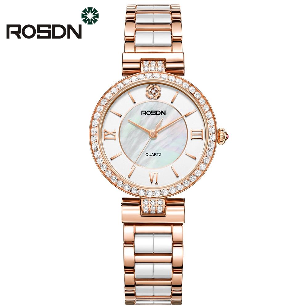 ROSDN de luxe marque montres femmes mode montre en or Rose beauté cristal table casual femme bracelet à quartz céramique bande