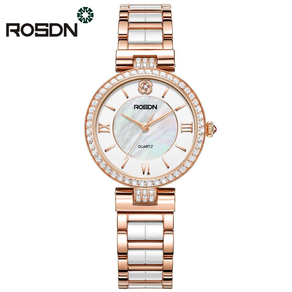 ROSDN luxury brand orologi donna Rosa di modo dell'oro della vigilanza di bellezza ceramica fascia da polso al quarzo da tavolo in cristallo femminile casuale