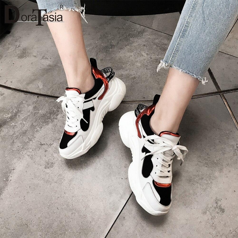 Lacets Noires Pour Plat 2019 Plate Véritable Ins Chaussures En Doratasia Sneakers Nouveautés Femme blanc À forme Chaude De Baskets Noir Cuir 29DWHIYE